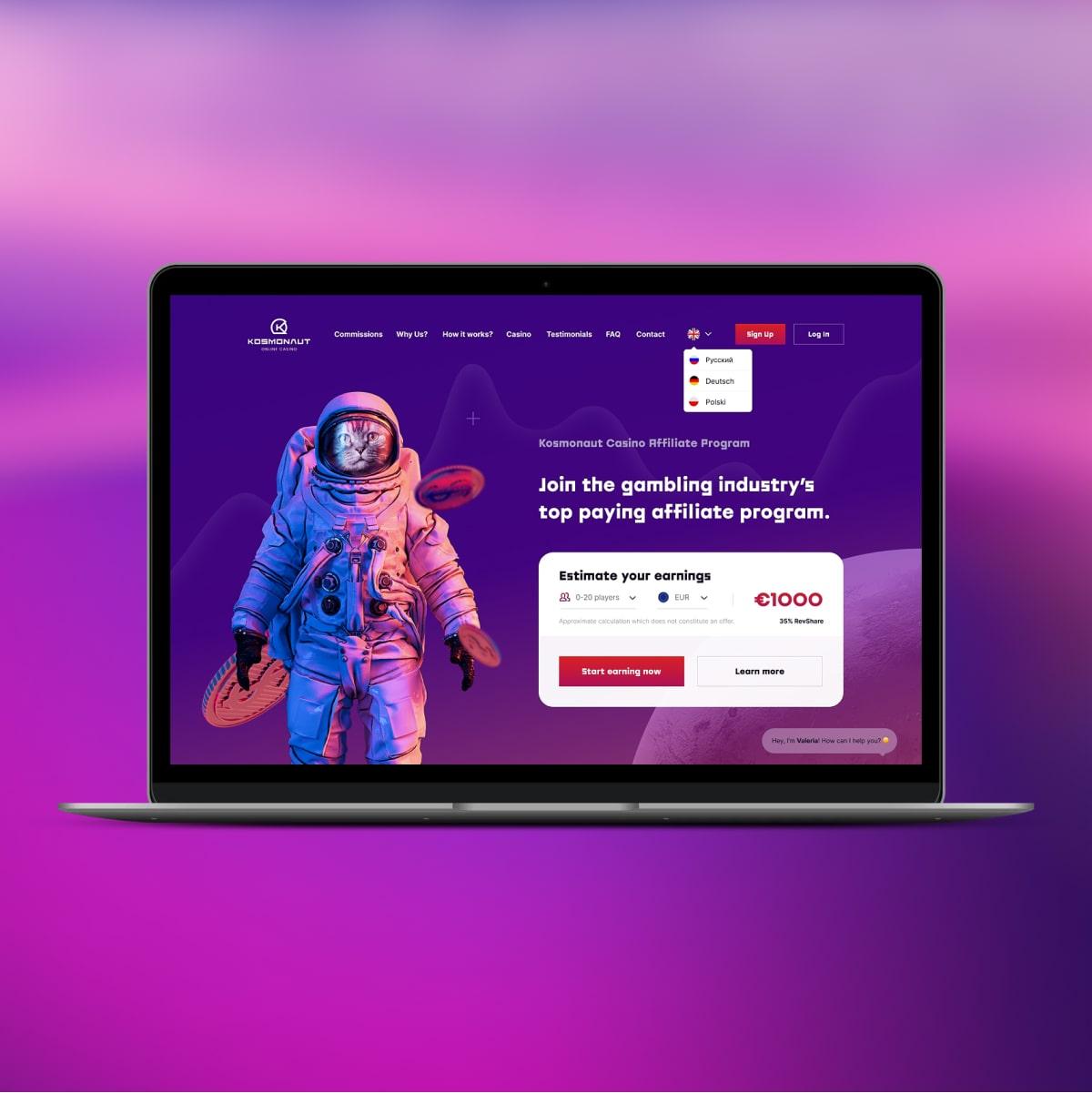 kosmonaut casino web product