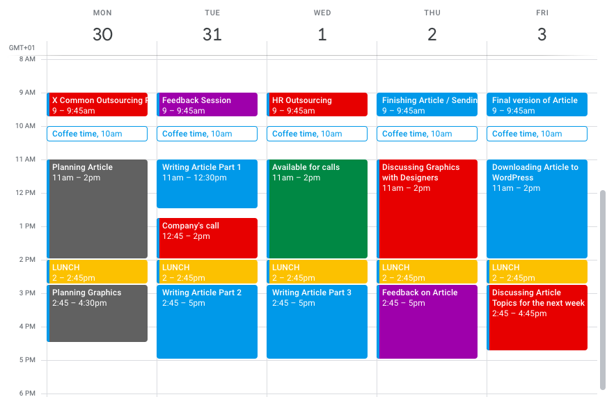 Business Calendar of our co-worker ready for next week.