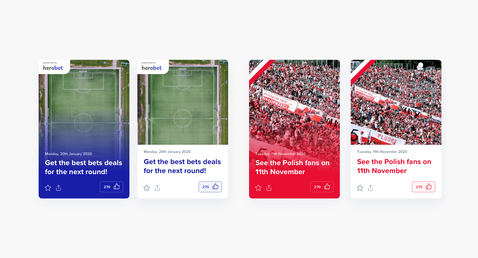 """Like"" button and the layout is composed in a way that News Cards design matches the colour of the firm and the colour of the national holiday."