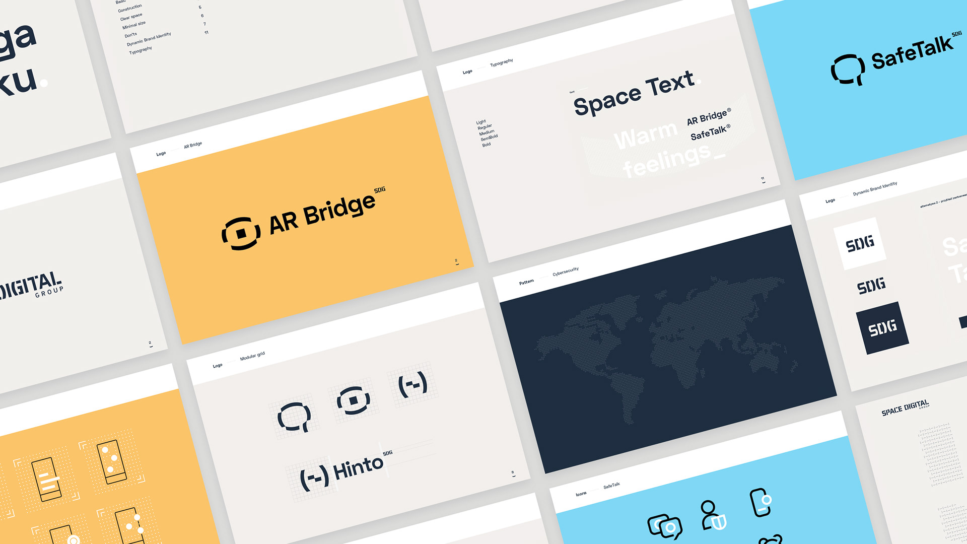 Brand Identity Guidelines prepared by HeroDOT for Space Digital Groups such as AR Bridge, SafeTalk and more.