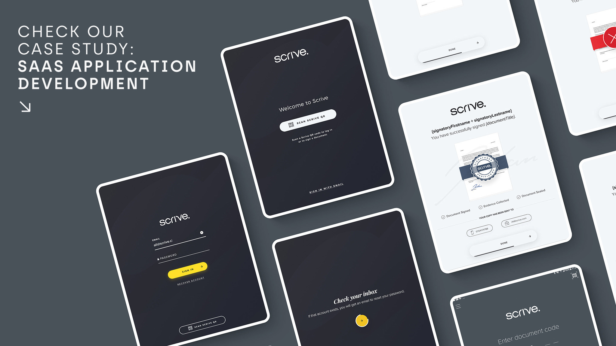 The designs and software that HeroDot prepared for Scrive, offering eSign and e-identification solution Scandinavian company.