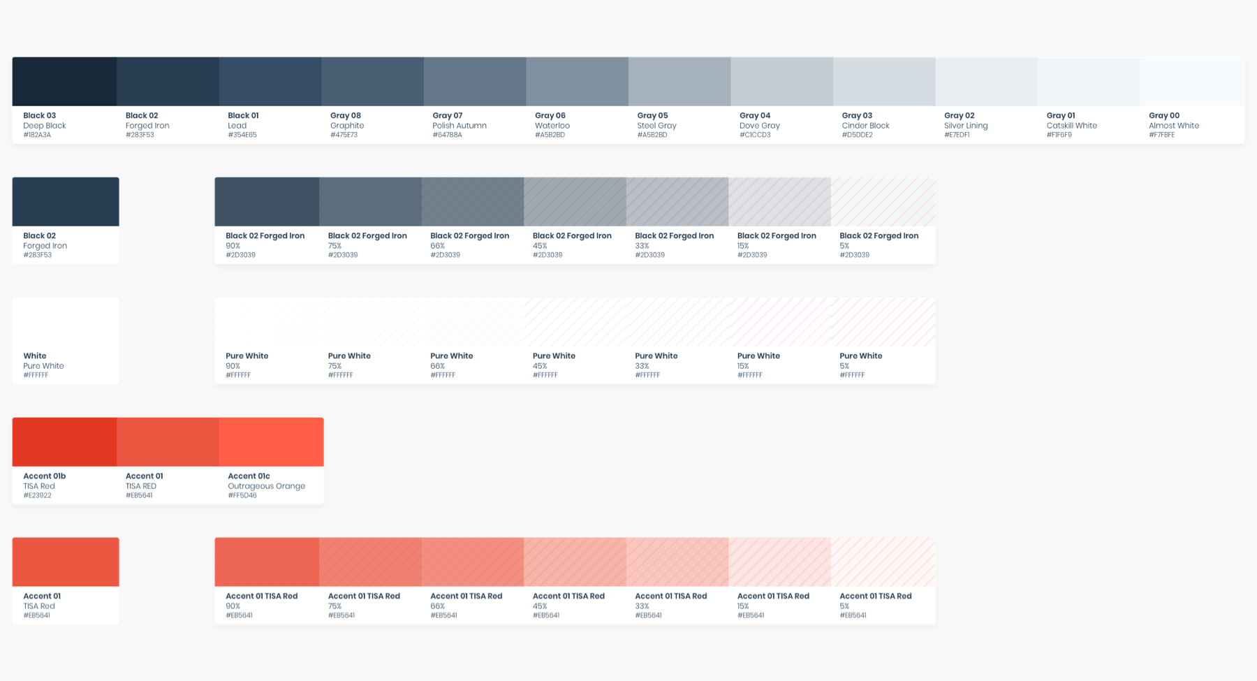 HeroDOT Colour Palette in Design System for TISA products.