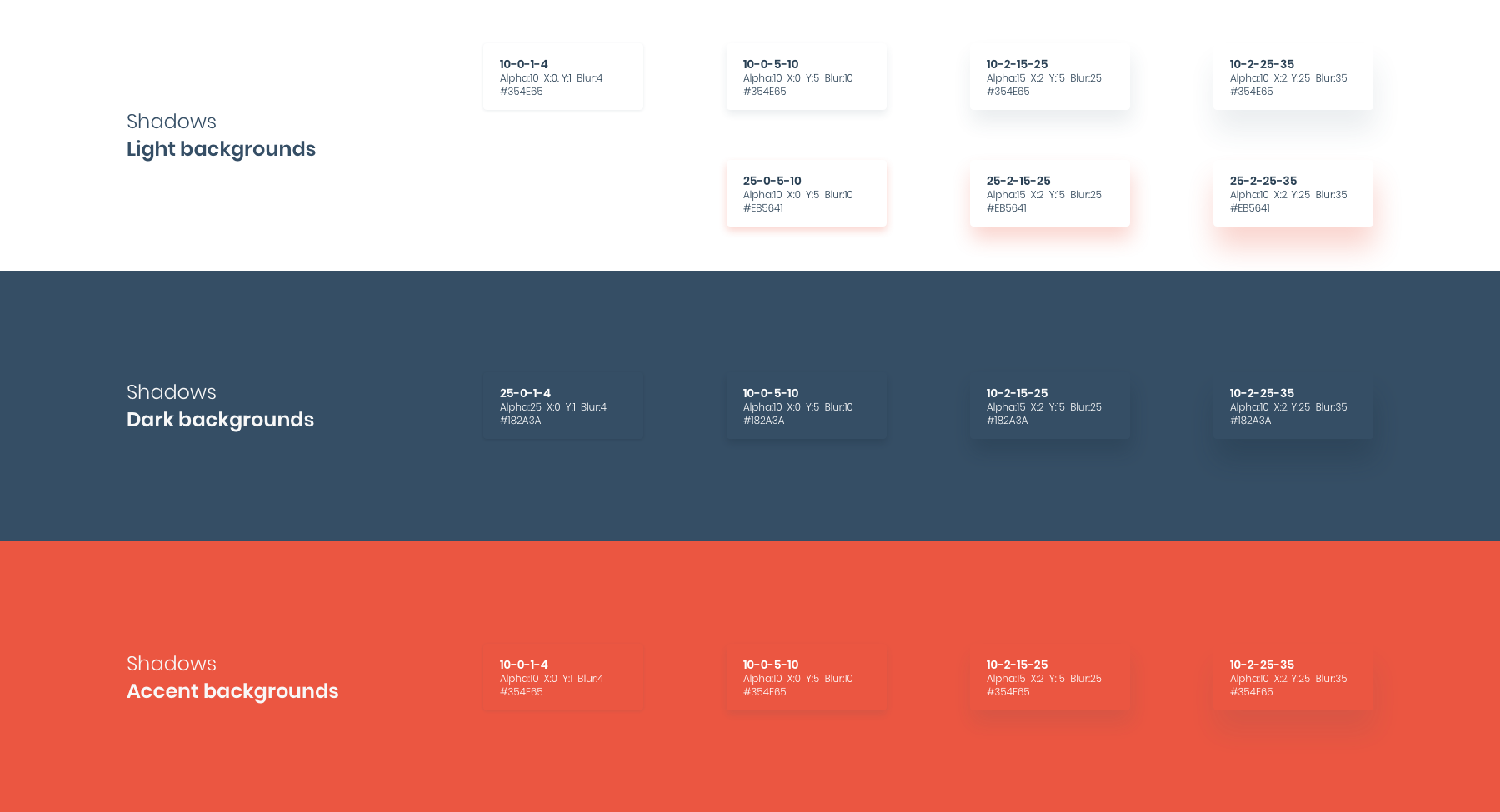 HeroDOT Shadows in Design System for TISA products.