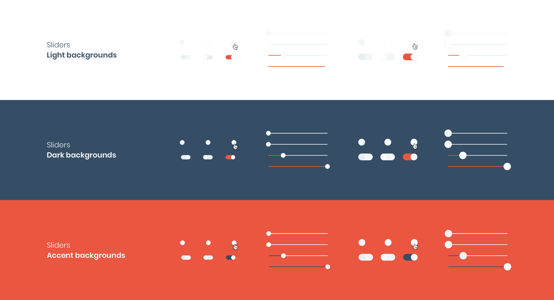 HeroDOT Sliders in Design System for TISA products.