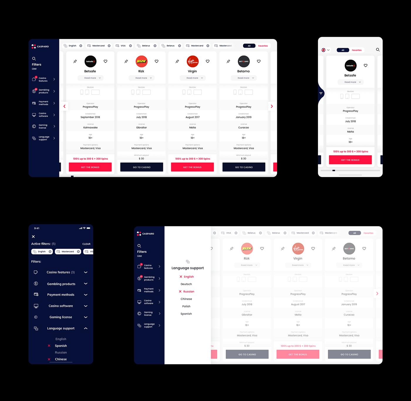 casparo website design online casino