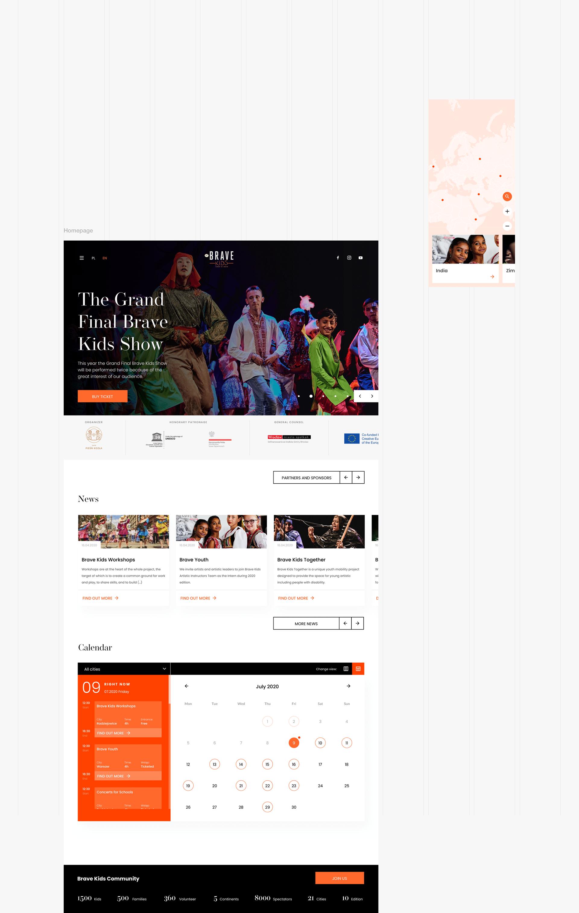 brave kids homepage website design