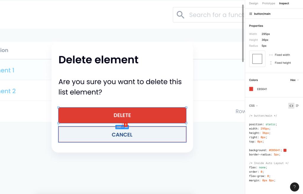 Figma Inspect tab – properties CSS