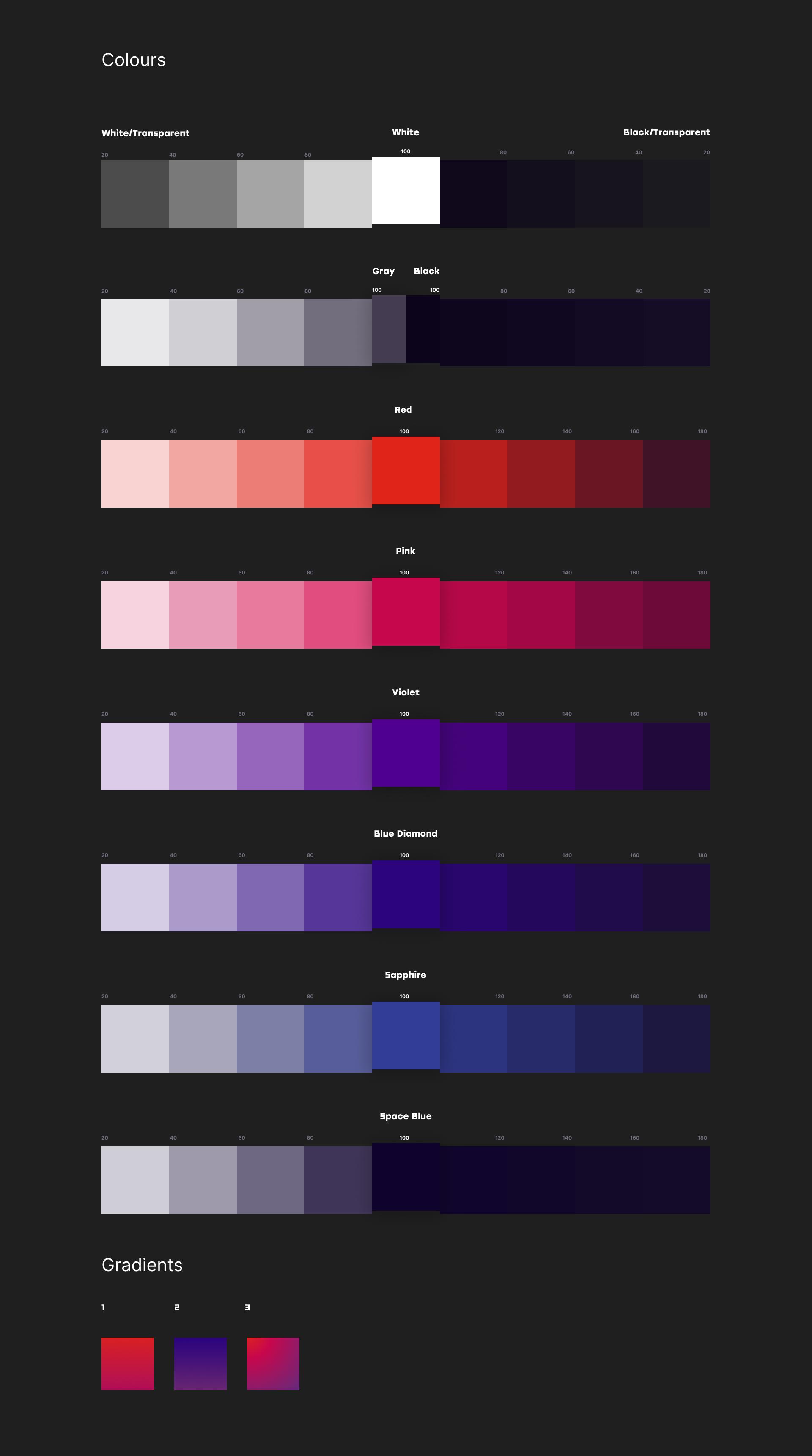 Kosmonaut Online Casino colour palette