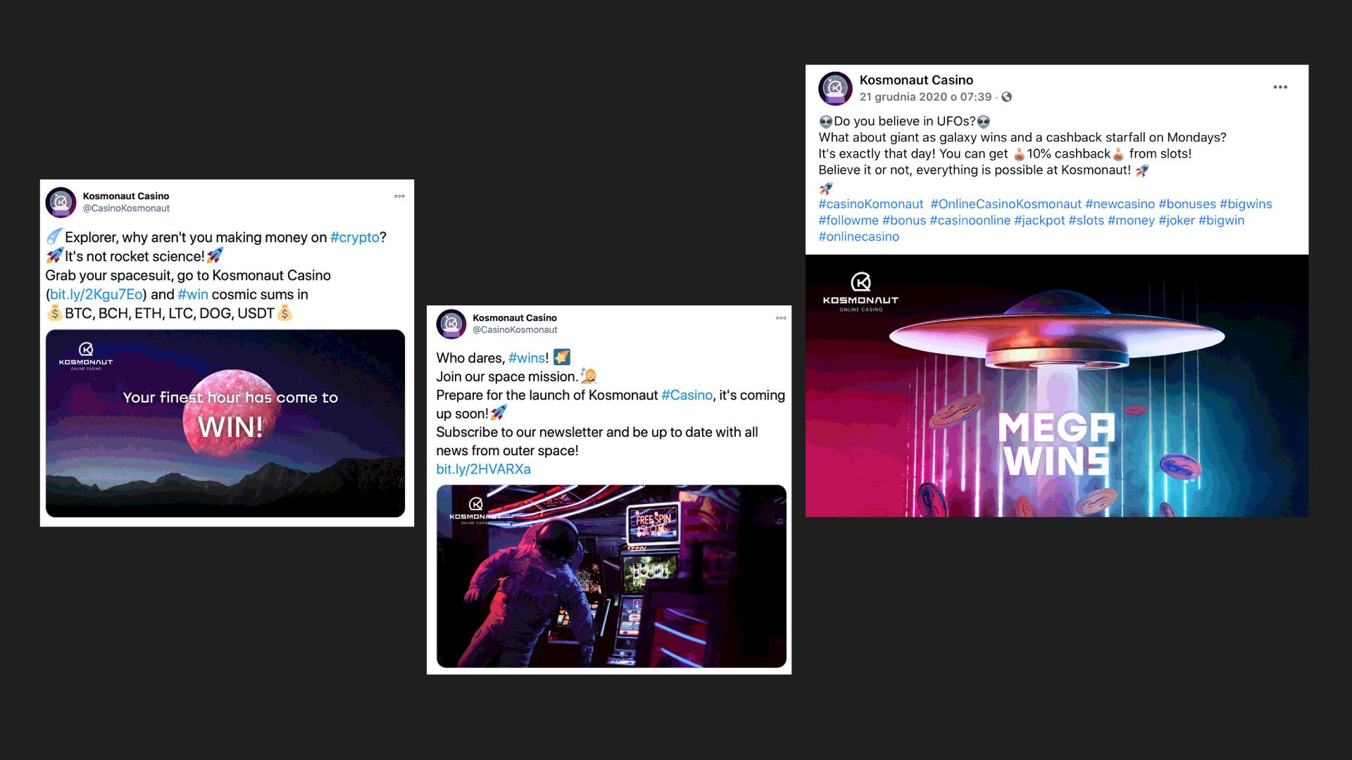 Kosmonaut Online Casino social media posts