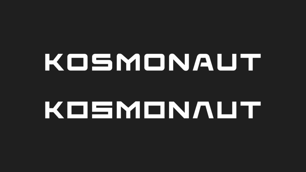 """Above: """"Kosmonaut"""" written in Elevon Below: our custom typeface"""