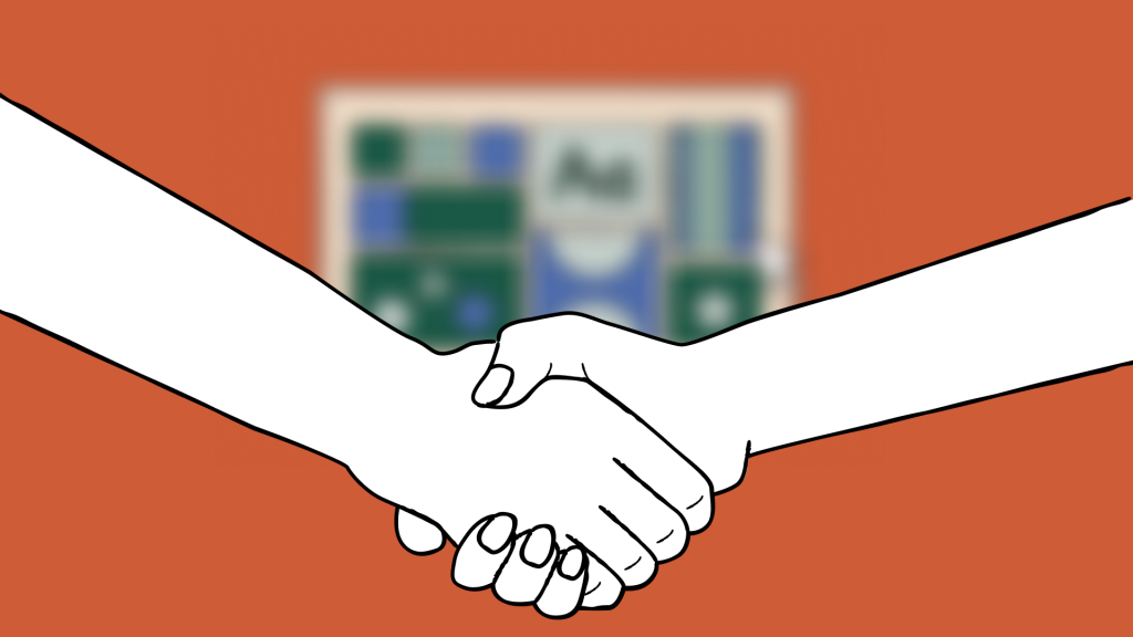 a handshake with a blurred mood board in the background