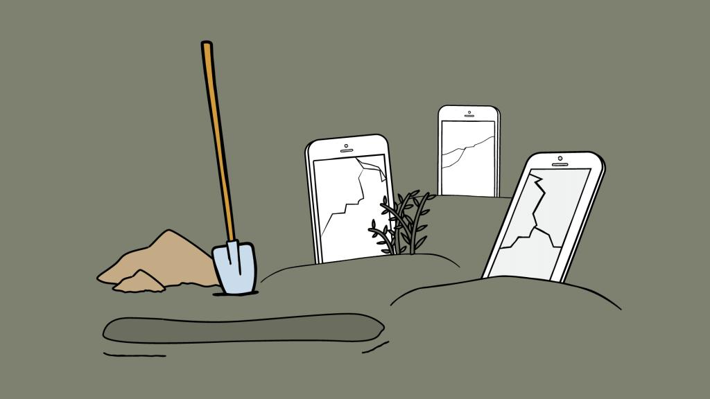 phone cemetery, broken phones in place of tombstones