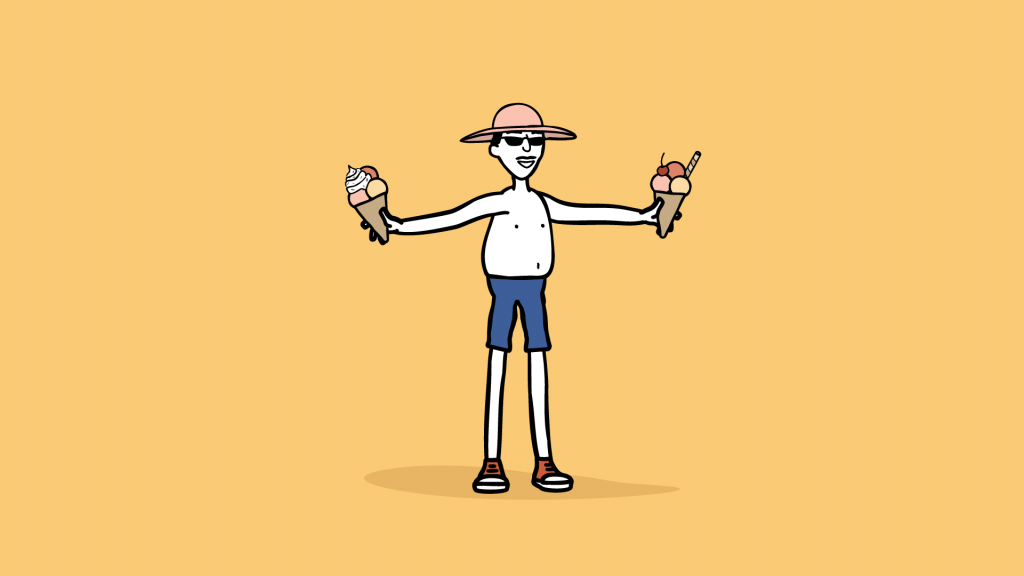 Man with two almost identical ice creams A/B testing
